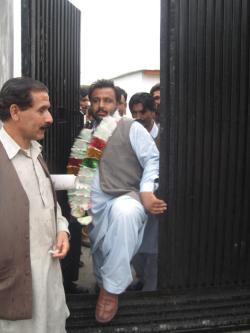 Baba Jan stepping out of Jutial sub-jail 17-Sep-2012